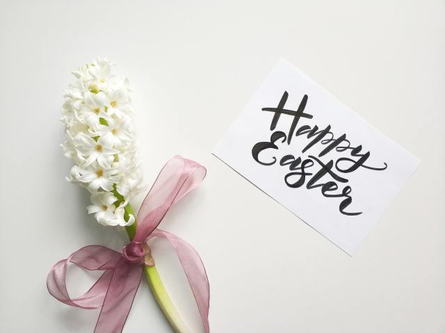 Lily branch with Happy Easter sign