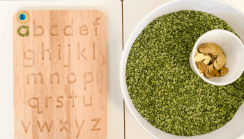 St. Patrick's Day Sensory Bin: Split Peas and Gold Coins