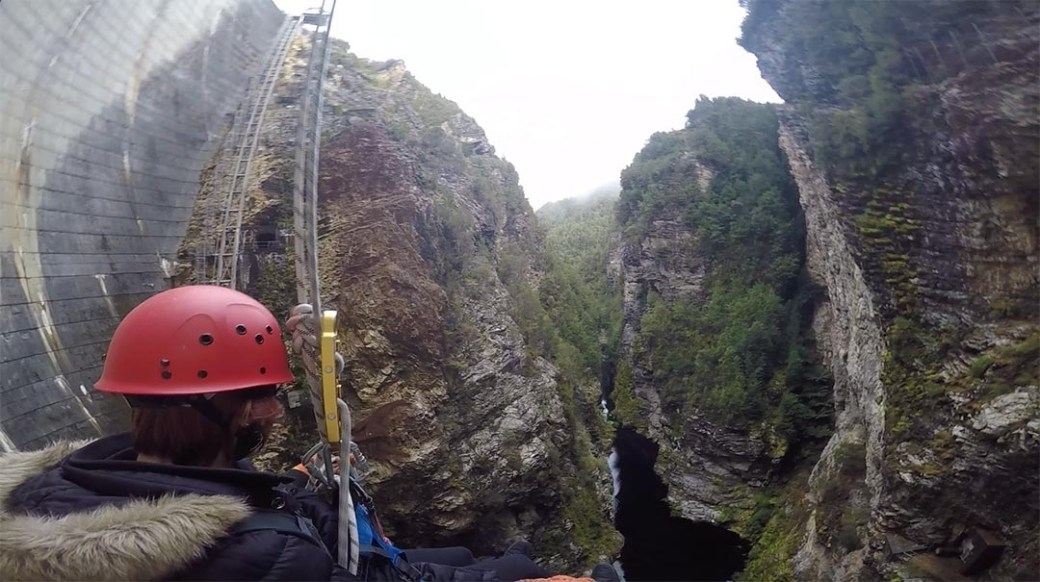Abseiling Gordon Dam Tasmania from my point of view with Aardvark Adventures