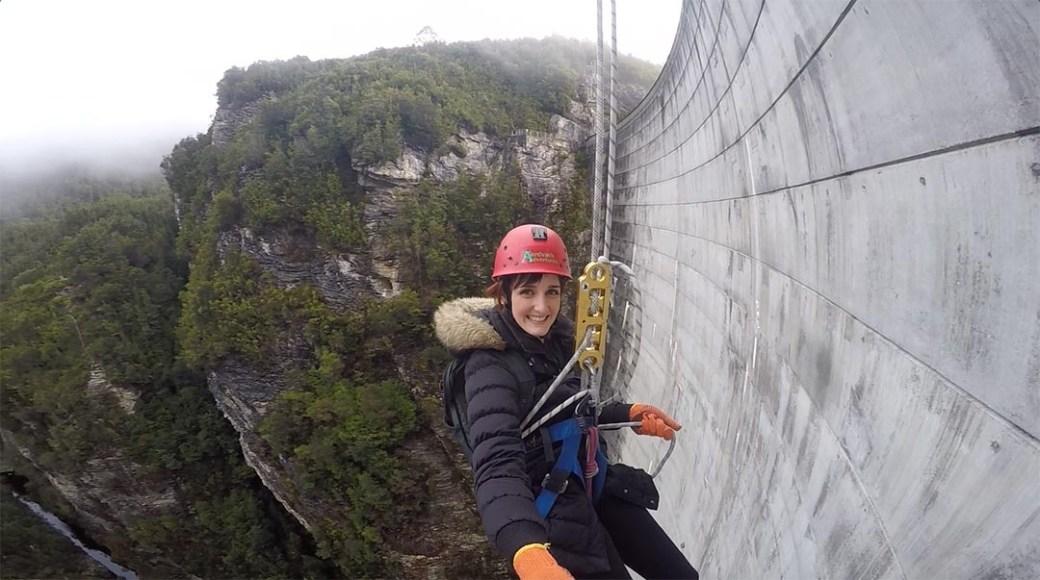 Abseiling down Gordon Dam Tasmania with Aardvark Adventures