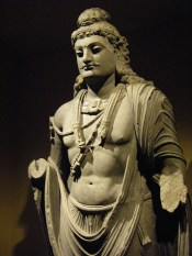 Stone sculpture of a Gandharan Bodhisattva, 2nd - 3rd century CE, San Diego Museum of Art. In Mahayana Buddhism, a Bodhisattva is one who has committed himself to the path of enlightenment and spreading the teachings of the Buddha.