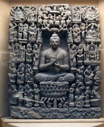 """Miracle of Saraswati"", Lahore Museum. This intricate stone relief dates to the 2nd century CE and depicts the only miracle Lord Buddha is said to have performed in his lifetime. In the town of Sarasvati, located in present-day Uttar Pradesh, India, the Buddha confounded his critics by making them witness a miraculous, million-fold self-manifestation. seated on a thousand-petalled lotus, as fire and water emanated from his body."