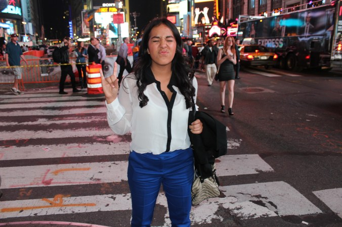 tourist in Times Square, Manhattan, New York City