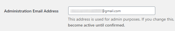 Confirm admin email address in wordpress