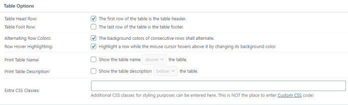 Table options in tablepress
