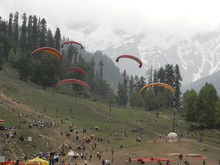 Paragliding at Solang valley of Manali