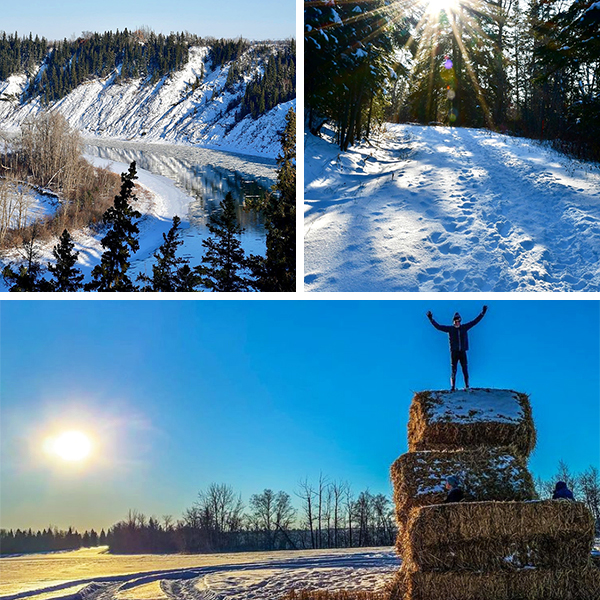 Winter River Valley trails and hiking in Devon, AB
