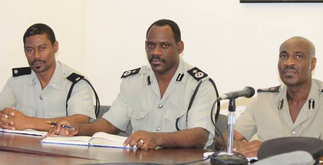 Superintendent Bennett Kirwan, Deputy Commissioner Charles Thompson and Commissioner Steve Foster are three Montserratians at the helm of the Royal Montserrat Police Service. (Spirit of Montserrat Photo)