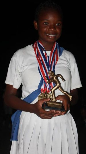Sheyanne Abrigo of Blue House was the top girl for the St Augustine School Sports Day 2015. (Spirit of Montserrat Photo)