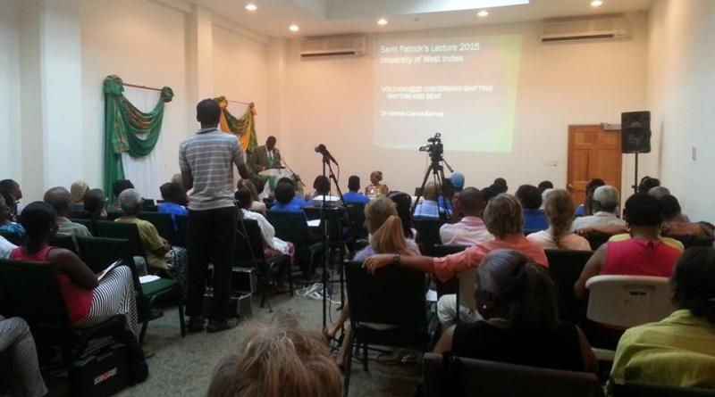 """Audience at the St Patrick's Lecture """"Volcano @ 20"""" with Dr. Clarice Barnes."""