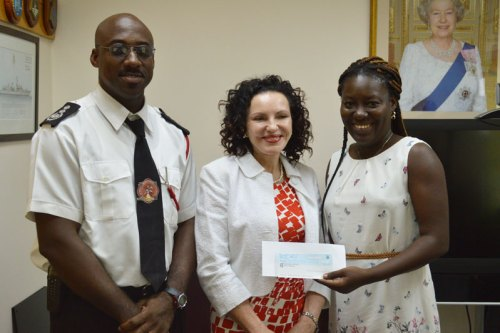 Red Cross Branch Chairman Andre West, HE the Governor Elizabeth Carriere, and RCB Treasurer Milykhia McKenzie.