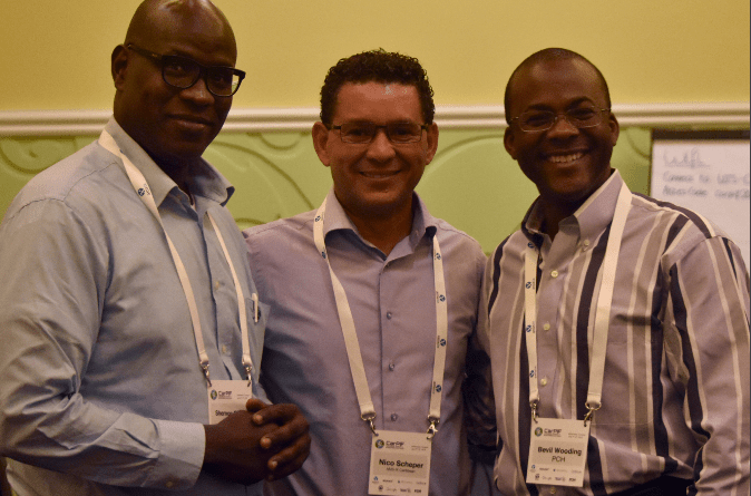 From left, Shernon Osepa, manager of Regional Affairs for Latin America and the Caribbean at the Internet Society, and Bevil Wooding, Caribbean Outreach Manager at Packet Clearing House at the second Caribbean Peering and Interconnection Forum, held at Renaissance Resort and Casino, Willemstad, Curacao from June 7 to 10, 2015. PHOTO: GERARD BEST