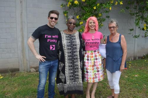 TV personality JD Scott, AFW LitFest Chairperson Gracelyn Cassell, Makeup Artist and Model Annalee Belle, and LitFest Volunteer Jean Handscombe.