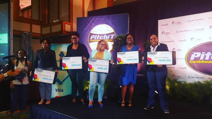 The top five winners in PitchIT were women. (PitchIT Caribbean photo)