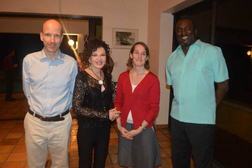 Ben Merrick, FCO, HE Governor Elizabeth Carriere, Debbie Palmer, DFID, and Hon. Premier Donaldson Romeo at the welcome reception on Tuesday, February 28, 2017.