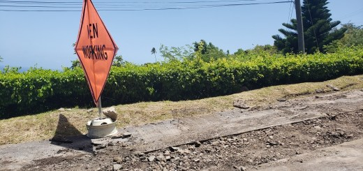 Men Working sign at Road Works in Forgarthy