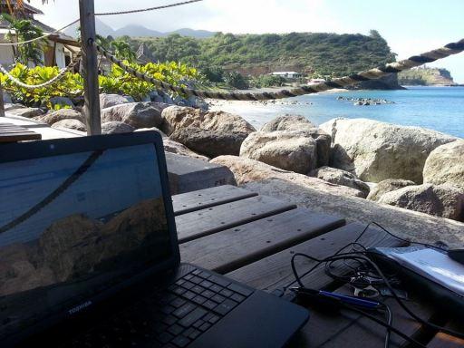 Digital Nomad life at Little Bay. Centre Hills Montserrat in the distance. (Nerissa Golden photo)