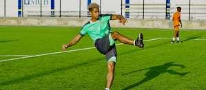 Emerald Boys captain Lyle Football training in Curacao before their El Salvador game (BOL Football photo)