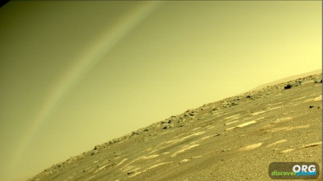 Rainbows aren't possible on Mars. This arc is a lens flare