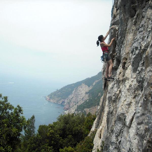 Rock climbing on Monte Muzzerone Porto Venere Nature Park