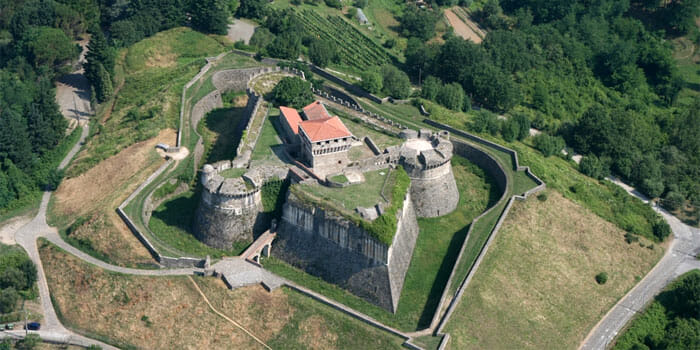 Fortress of Sarzanello aerial view