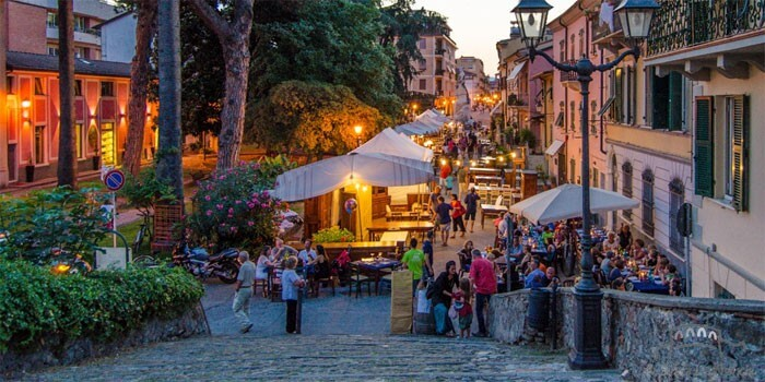 Open-air shopping in Sarzana's historic center.