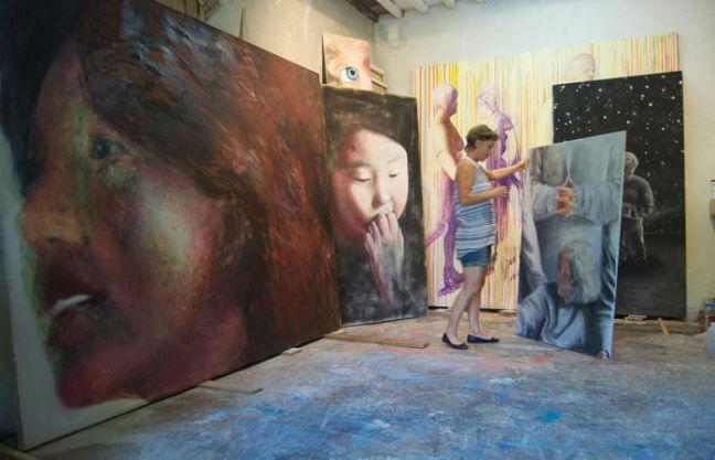 Dora preparing the art exhibit rooms at the Castle of Portovenere