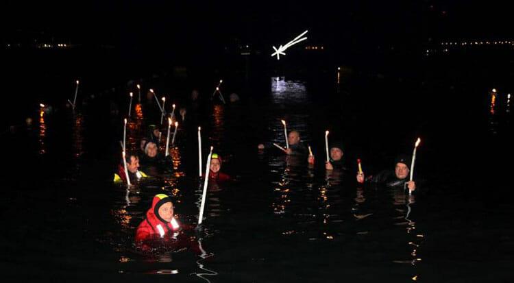 Underwater Christmas in La Spezia: scuba divers' procession