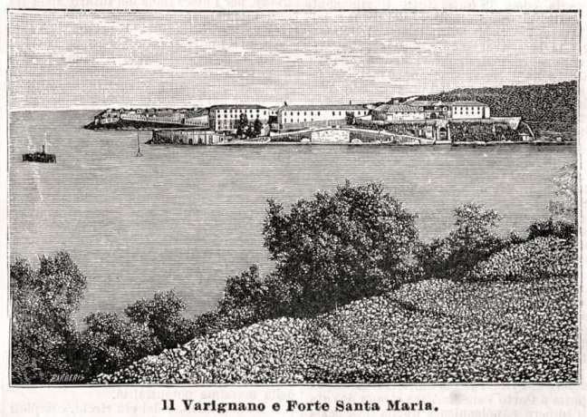 Varignano Fortress, Liguria - Xylography from 1889