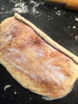 Step 1 - douse in butter & cinnamon sugar, make into a huge roll!