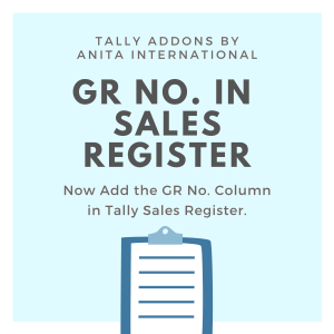 GR No in Sales Register - Tally AddOn TDL