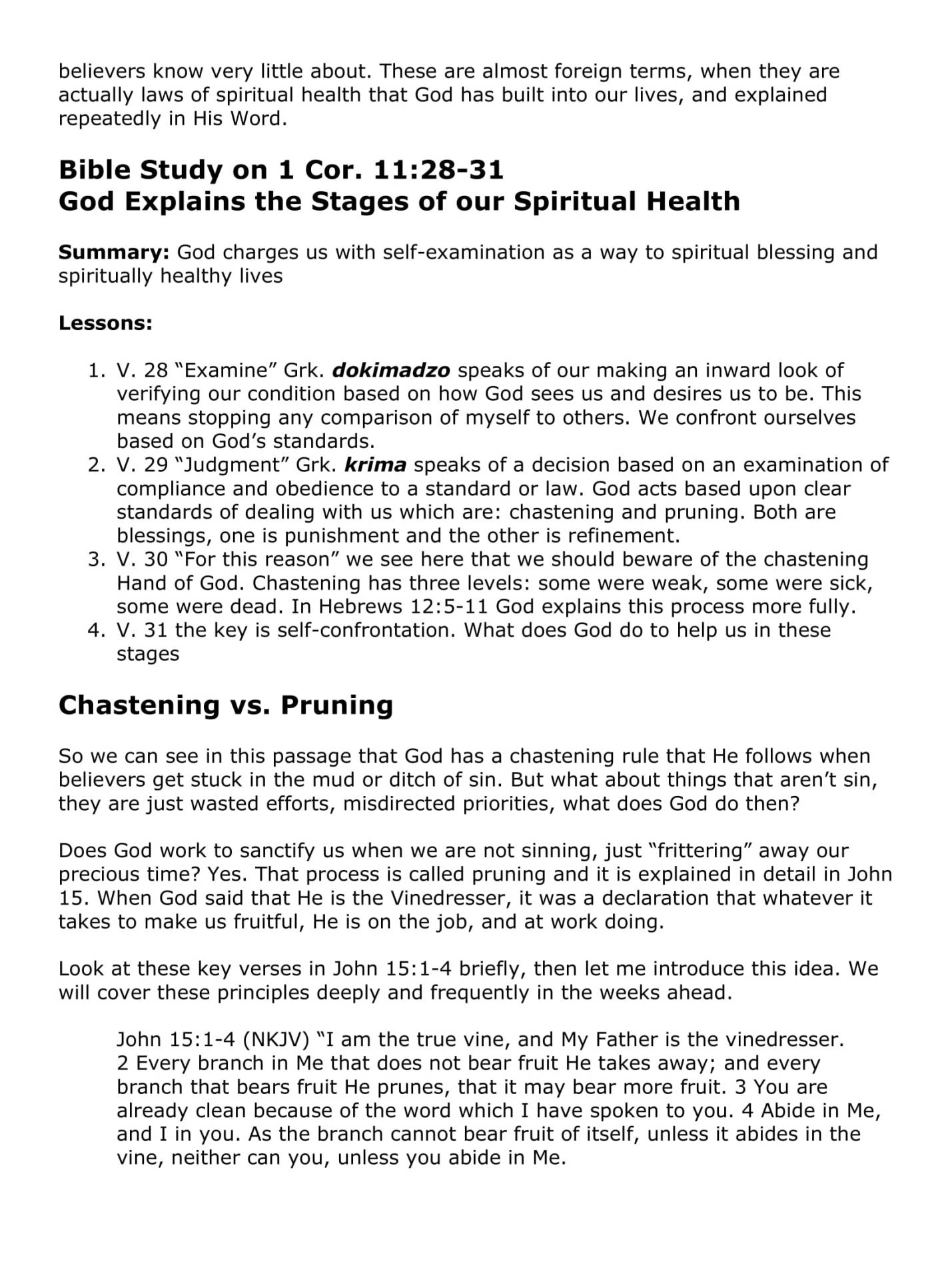 A Theology Of Spiritual Health - Chastening, Pruning, And