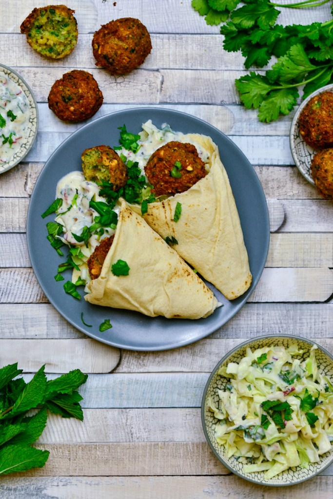 Homemade Falafel with Pointed Cabbage Salad