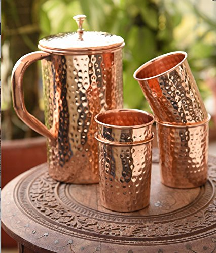 AsiaCraft Pure Copper Hammered Jug & 4