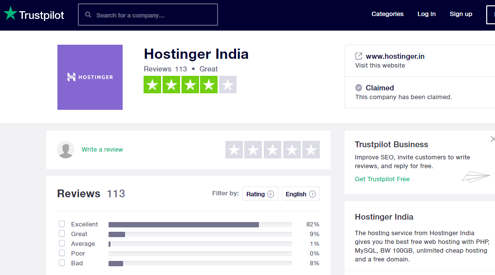 Trustpilot Hostinger India review