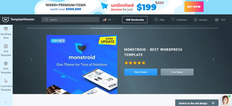 Template monster - Envato Elements competitors & alternative