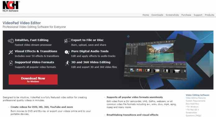 Videopad Video Editor cheap video editing software under $50 -
