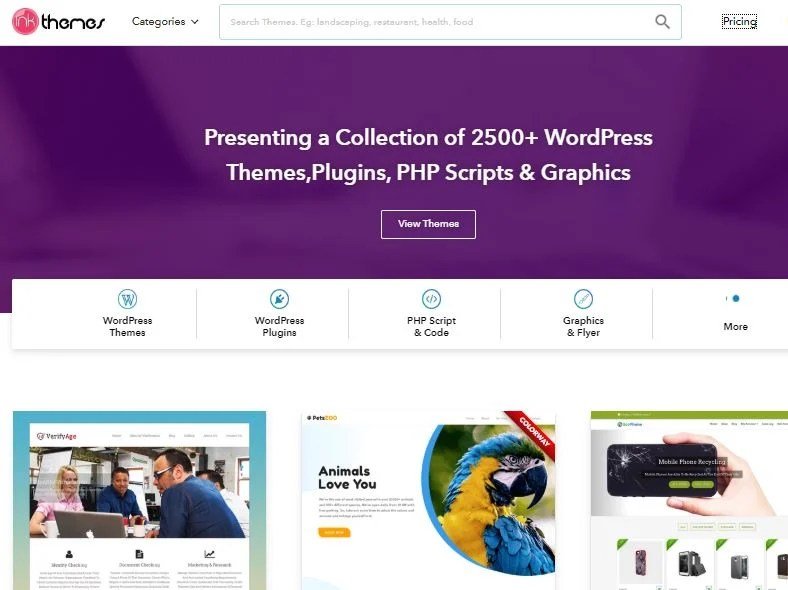 Inkthemes one of the similar websites as Codecanyon