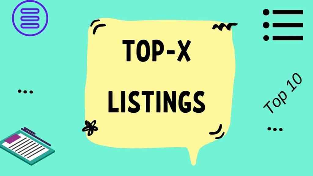 Top X listing