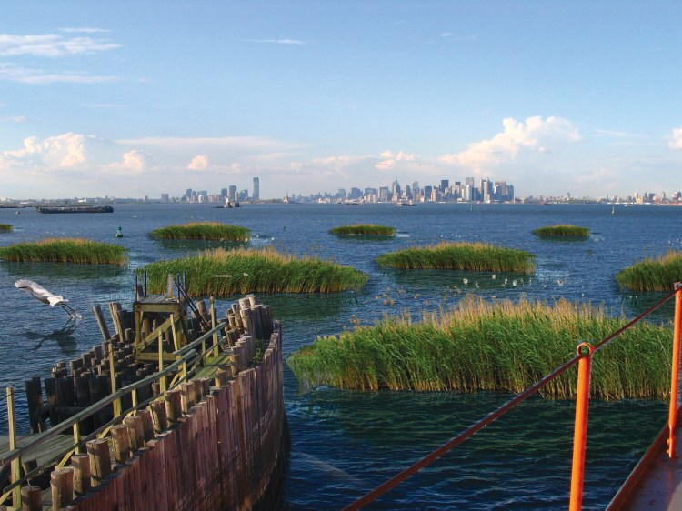 Resilient designs call for planning and reengineering natural features such as salt marshes, submerged aquatic vegetation and wetlands, as in this imagined coastline for Staten Island, south of Manhattan.