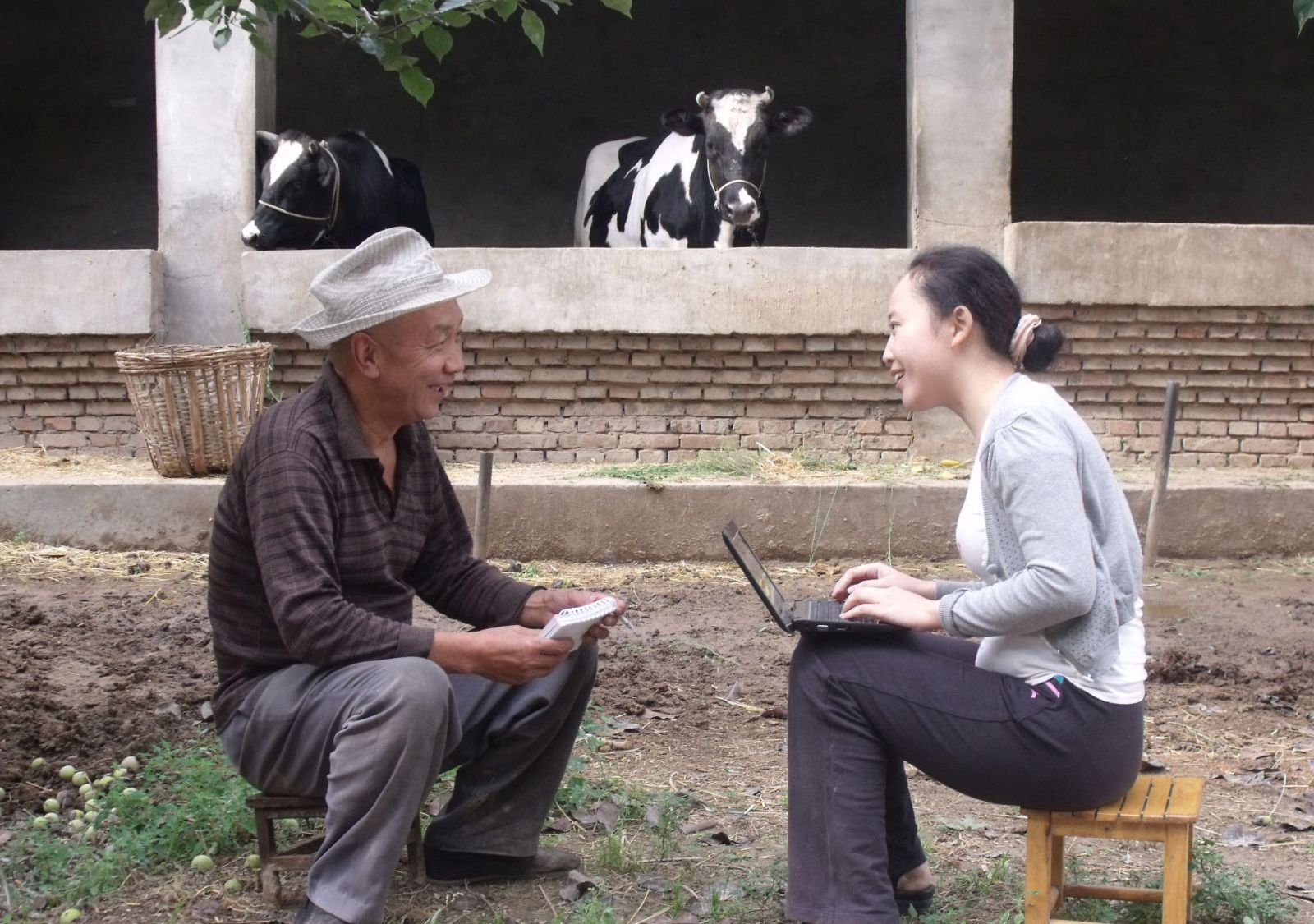 Researcher conducting interview