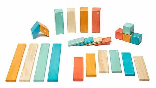 Tegu Wooden Blocks - Tegu Magnetic Blocks 24 Piece, Tegu Sunset