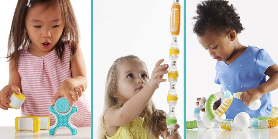 stem toys for toddlers and block play-3 images of toddler girls building with magnetic blocks for toddlers