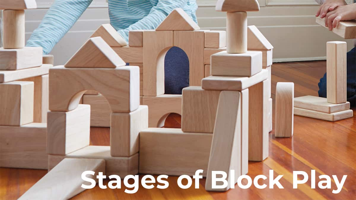 stages of block play-kids building elaborate structures with wooden unit blocks