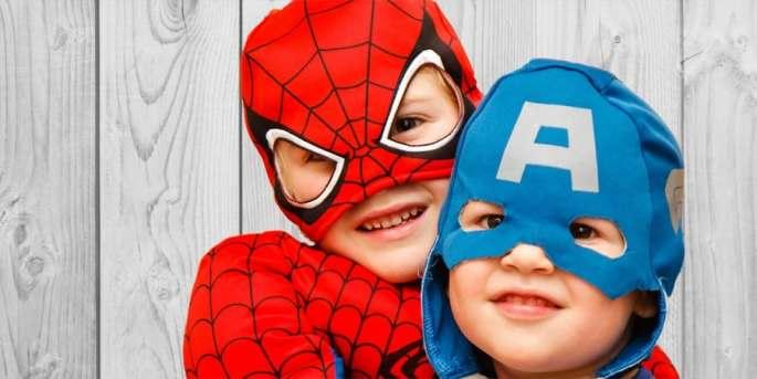 social-emotional activities for preschoolers-pretend play-boys dressed up as superheroes