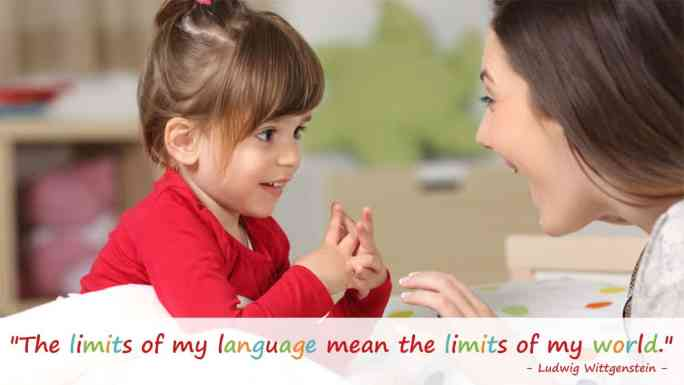language development in toddlers and preschoolers-block play-mother and young daughter engaged in a conversation