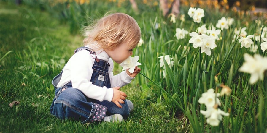 cognitive development activities for toddlers - exploratory play- outside activities-toddler girl outside smelling the flowers