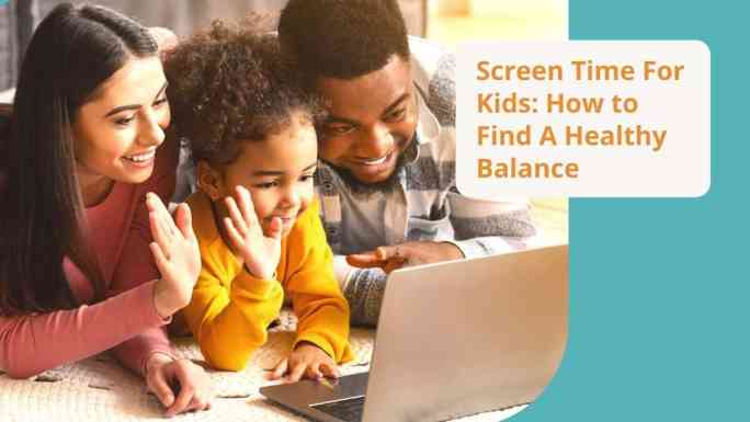 screen time for kids-family video chatting together