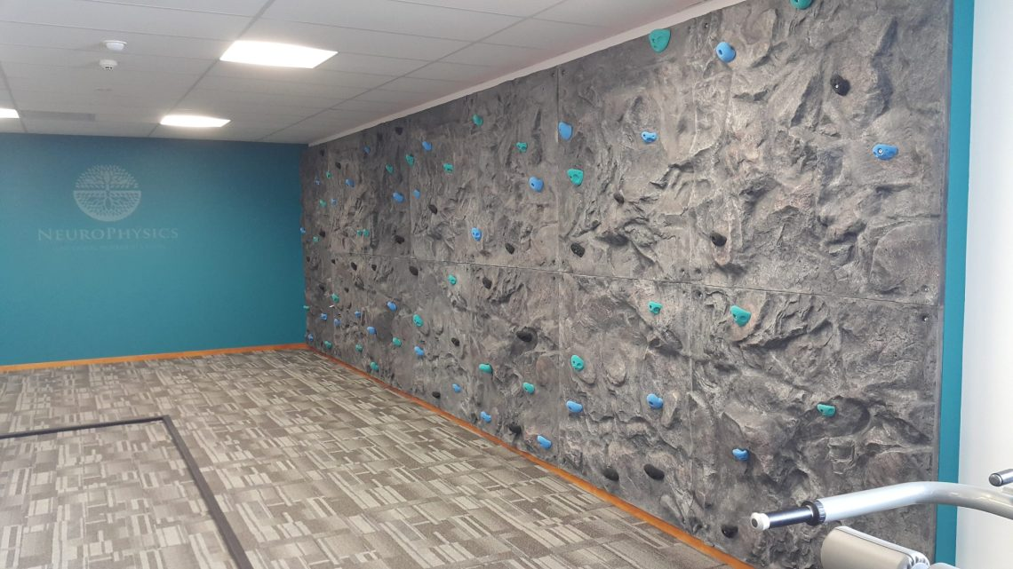 An indoor bouldering Wall at a gym