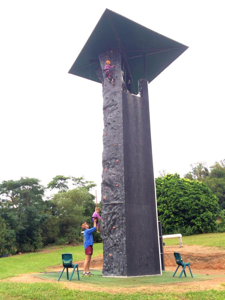 An outdoor climbing tower